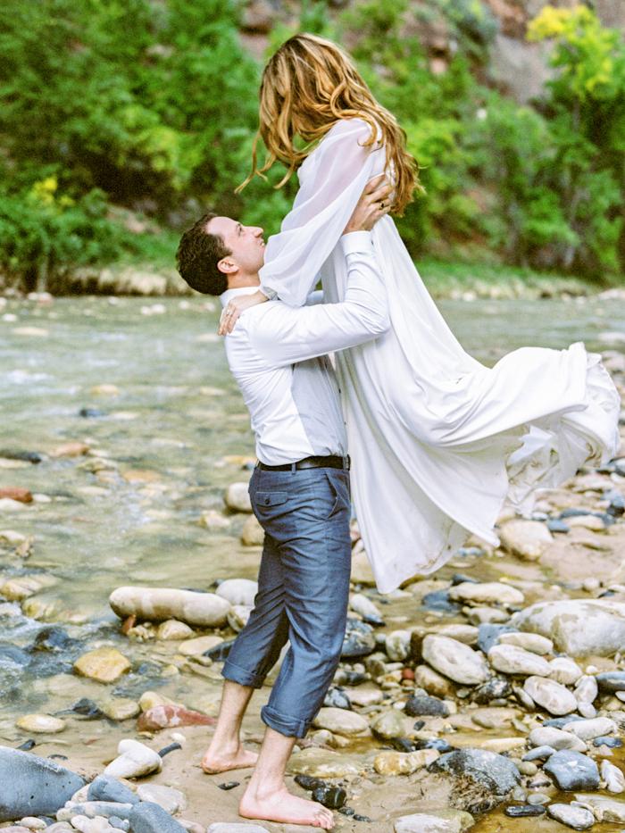 romantic zion river engagement photo