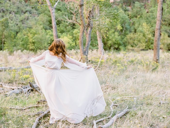whimsical zion national park engagement photo