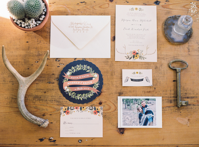 boho wedding save the dates by kelli murray