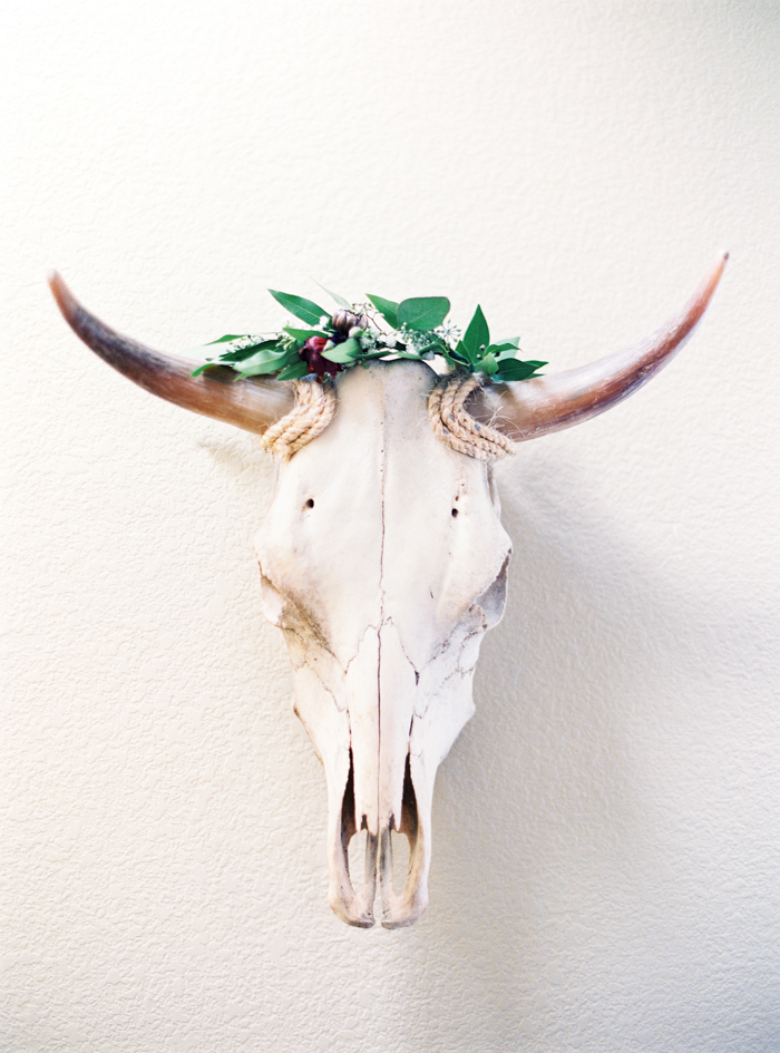 cow skull flower crown wedding