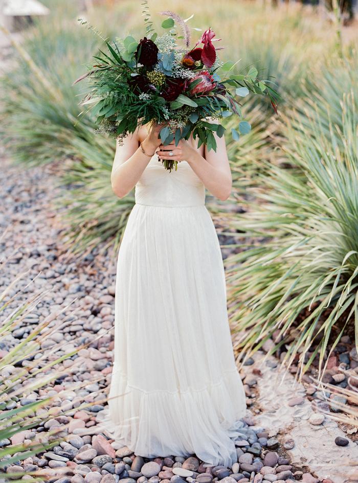 las vegas wedding with boho eucalyptus bouquet