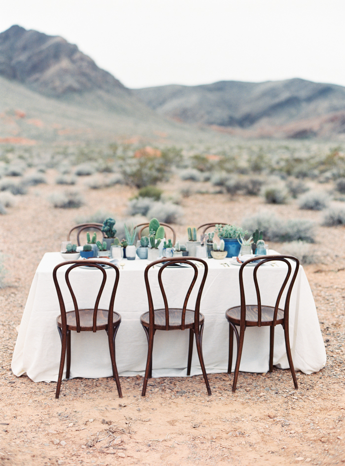 desert indigo inspired wedding tablescape with cactus