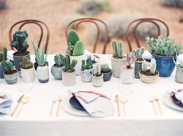 desert indigo inspired wedding tablescape with cactus
