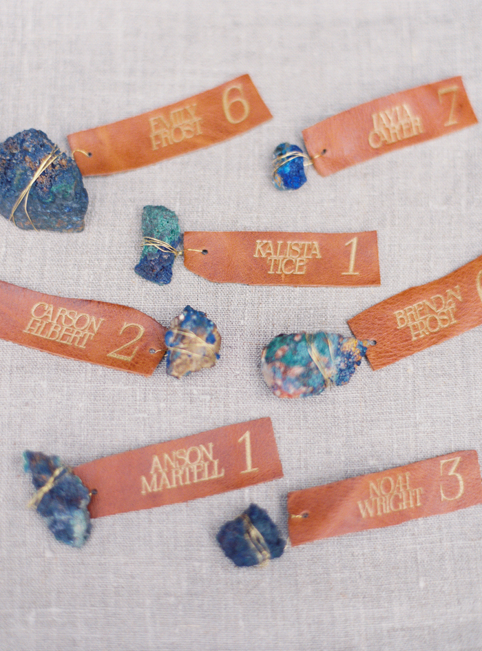desert and indigo azurite rocks inspired leather engraved place cards