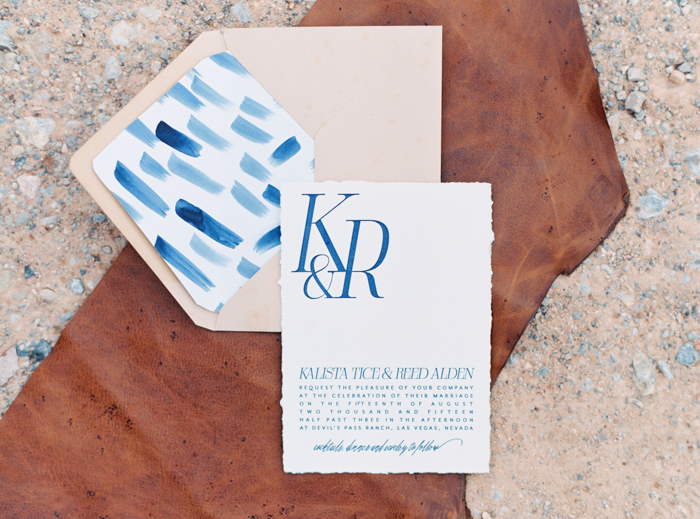 desert leather and indigo inspired valley of fire wedding invitations