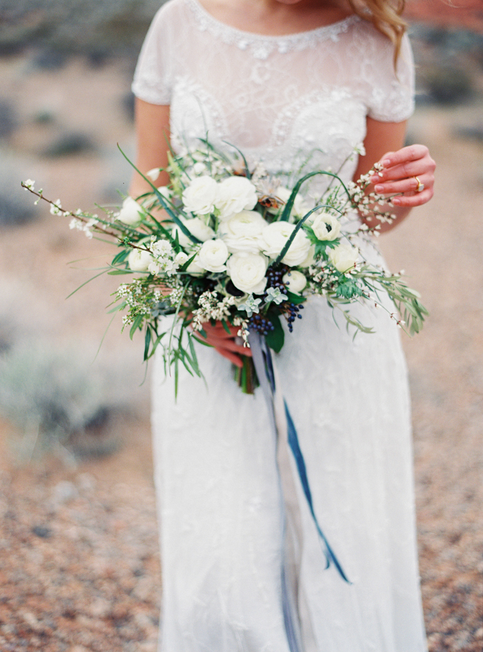 desert and indigo inspired valley of fire wedding bouquet