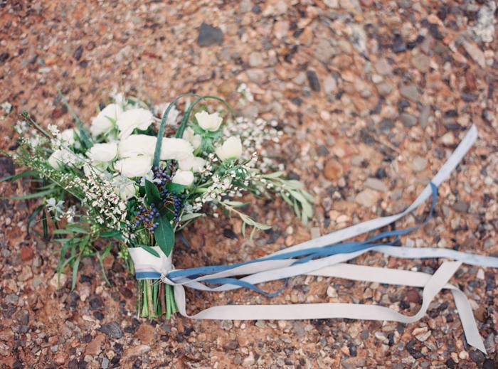 desert greens and indigo inspired valley of fire wedding bouquet