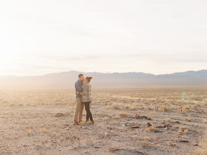 desert sunsets make for the best engagement backdrop