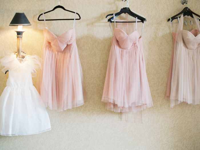 blush bridesmaids dresses hung up | gaby j photography