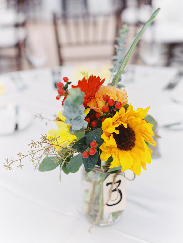 sunflowers centerpieces | destination wedding at the westin lake las vegas | gaby j photography las vegas wedding photographer