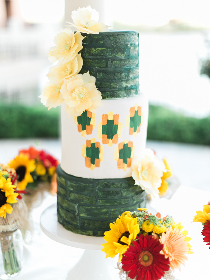 emerald and yellow sunflower wedding cake | gaby j photography