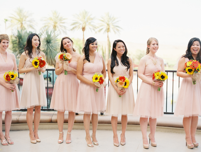 bridesmaids in blush dresses | gaby j photography