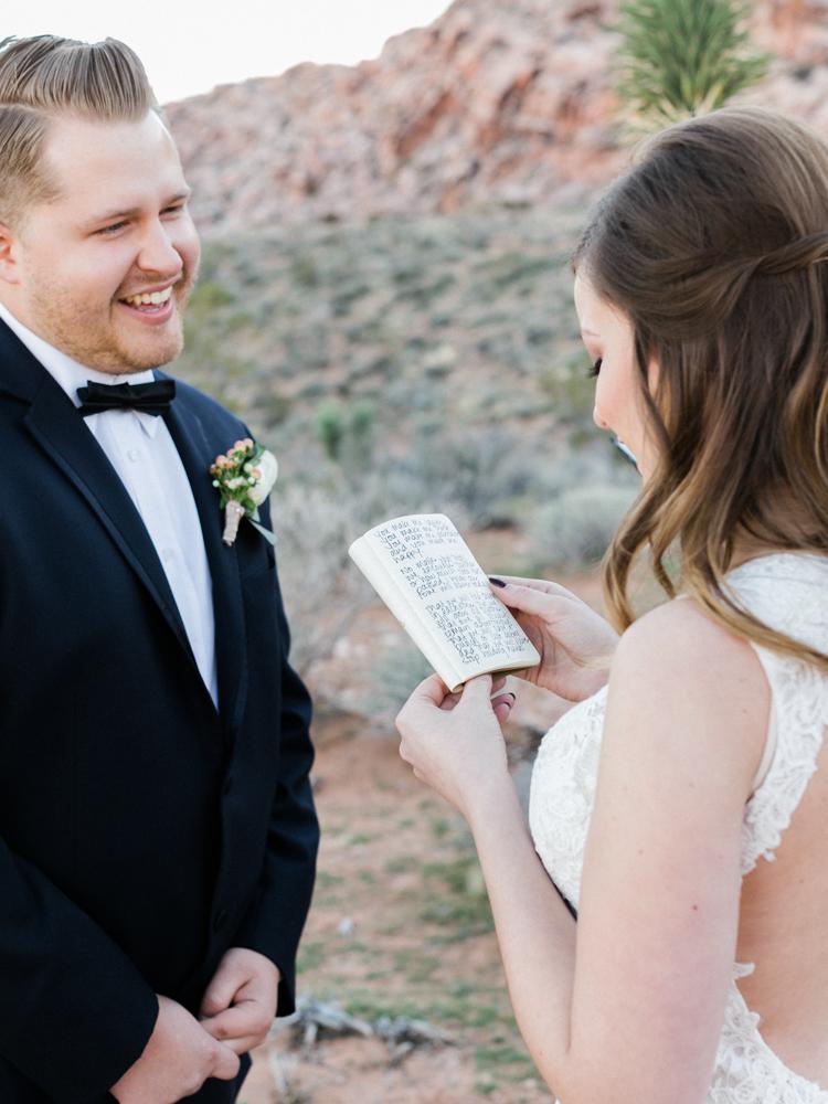 small wedding at red rock canyon national park | desert elopement | gaby j photography | las vegas elopement | danani handmade adornments | peachy keen unions