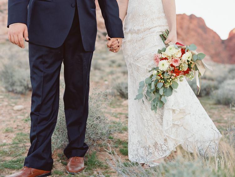 small wedding at red rock canyon national park | desert elopement | gaby j photography | las vegas elopement | dreamnette bridal | badgley mischka | opal floral las vegas