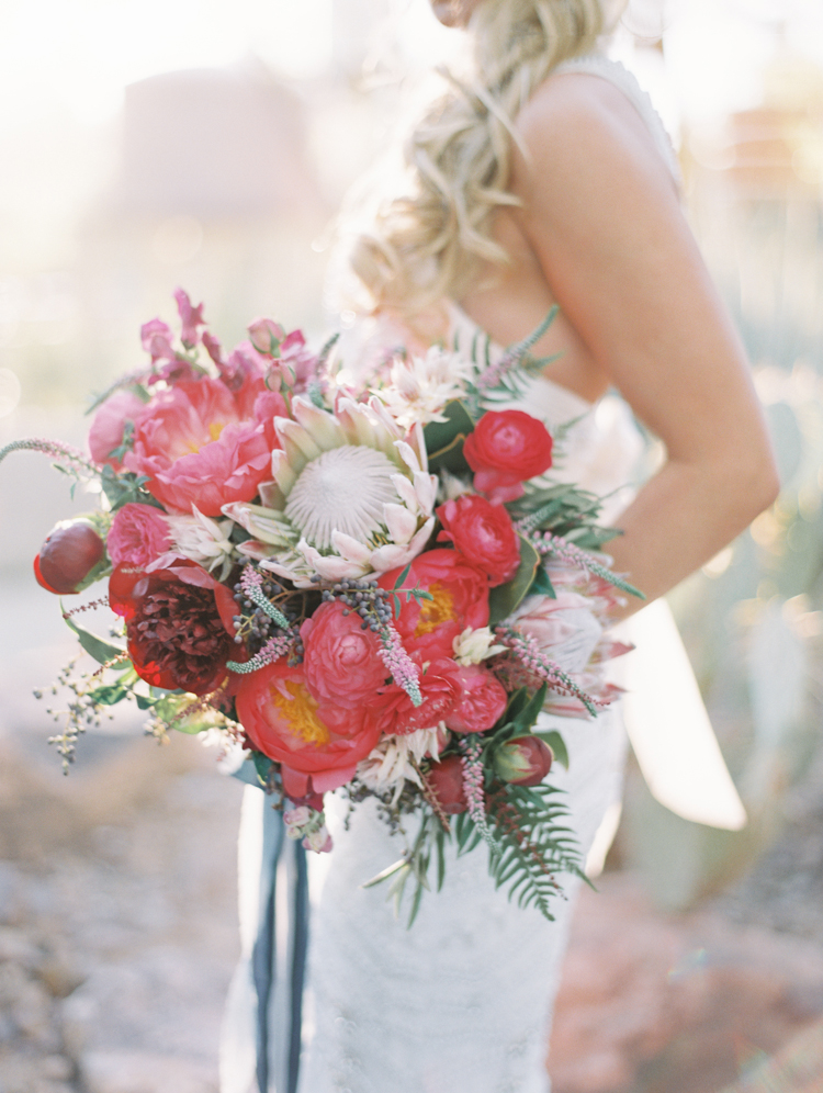 pink and magenta boho wedding bouquet inspiration