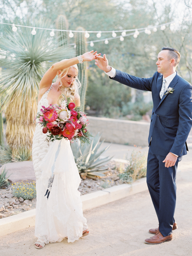 springs preserve cactus alley wedding photo