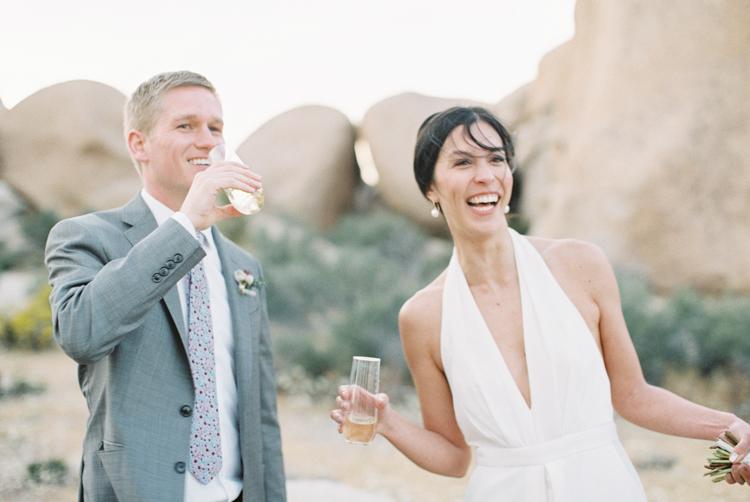 bride and groom celebrating after ceremony