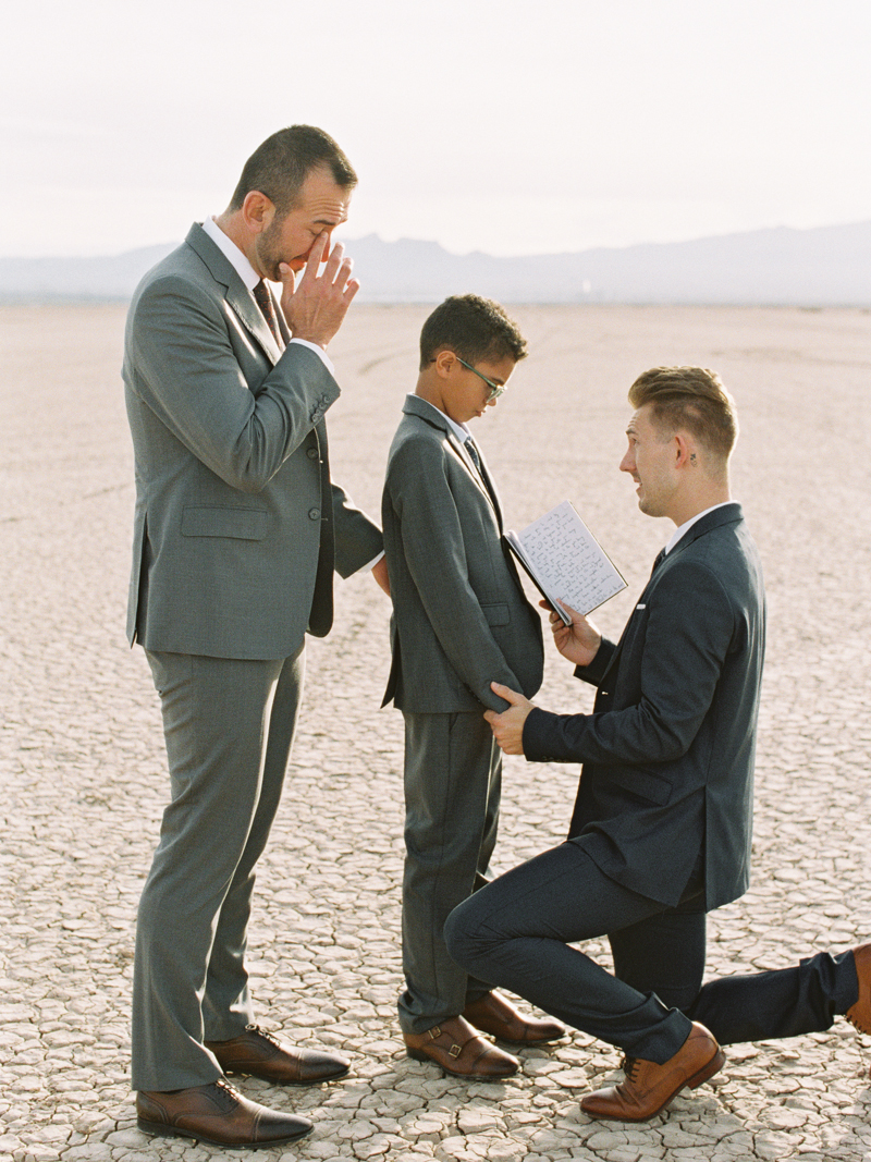 groom saying vows to step-son during ceremony