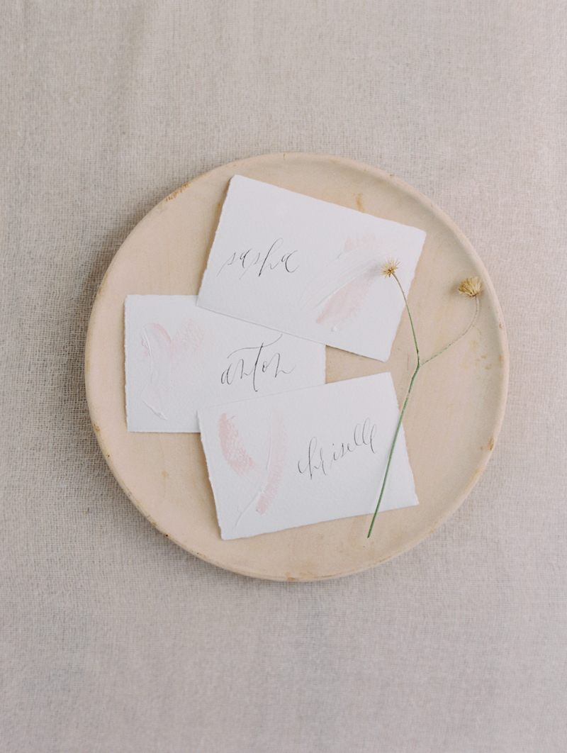 minimal pastel wedding escort cards