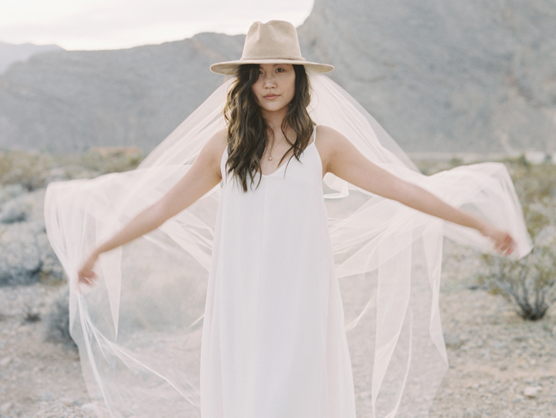 bride wearing veil and cowboy hat in the desert