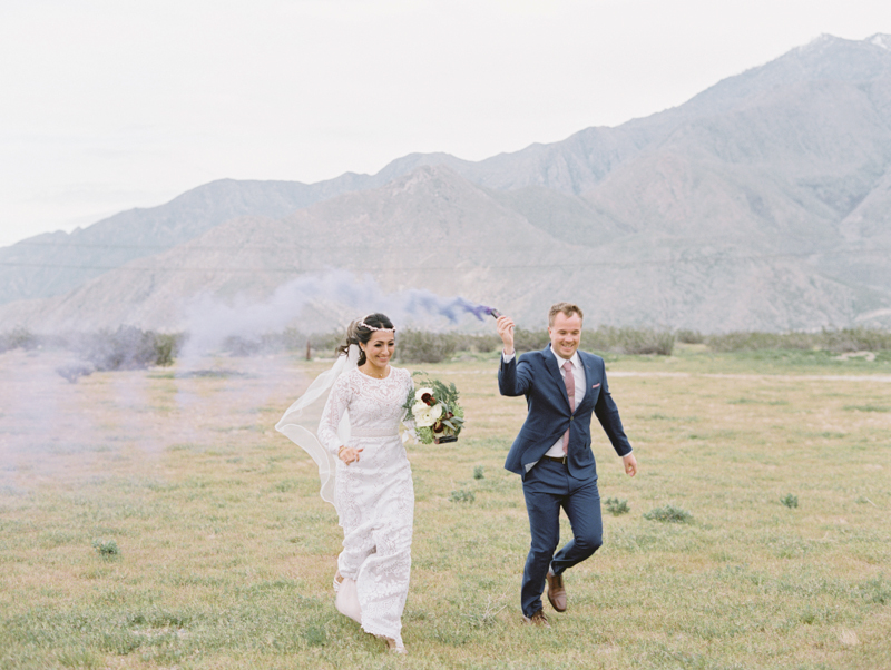 smoke bombs during wedding photo