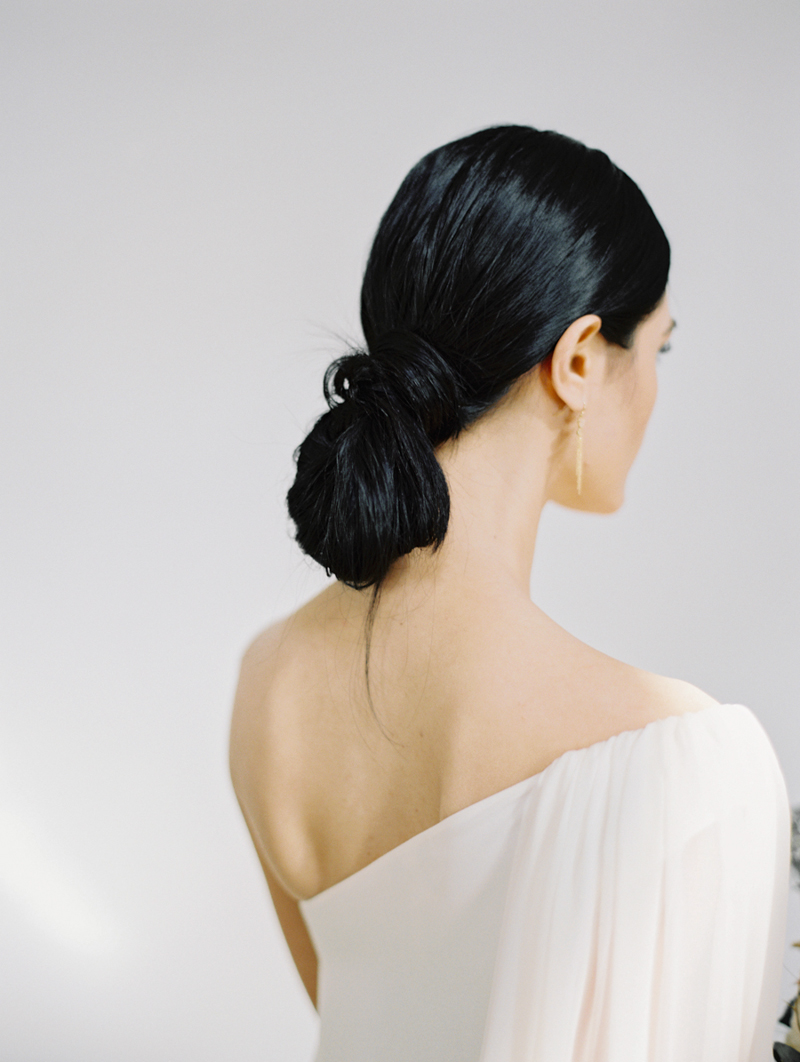 low chignon bridal wedding hair