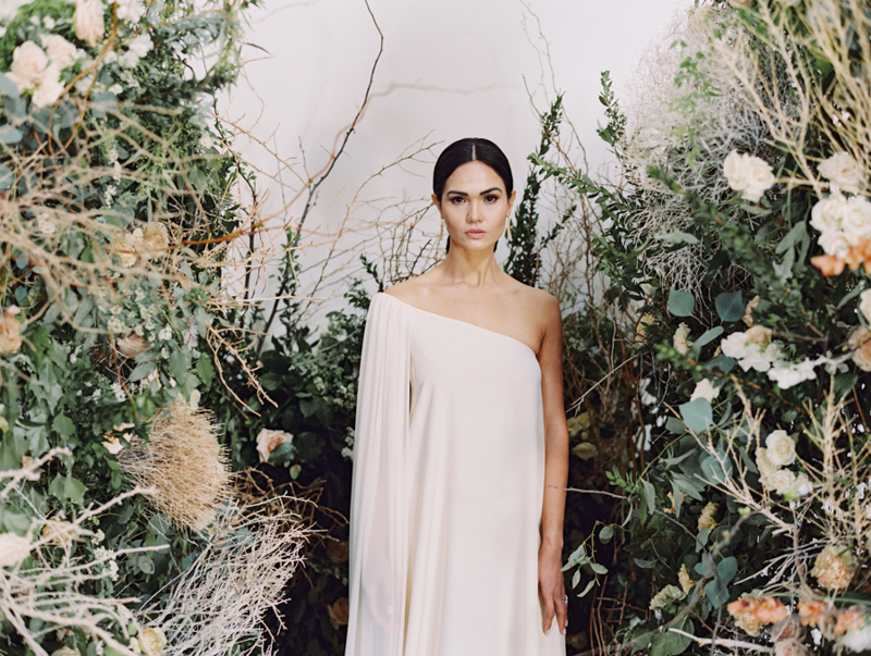 modern editorial wedding inspiration with floral tumbleweeds arch