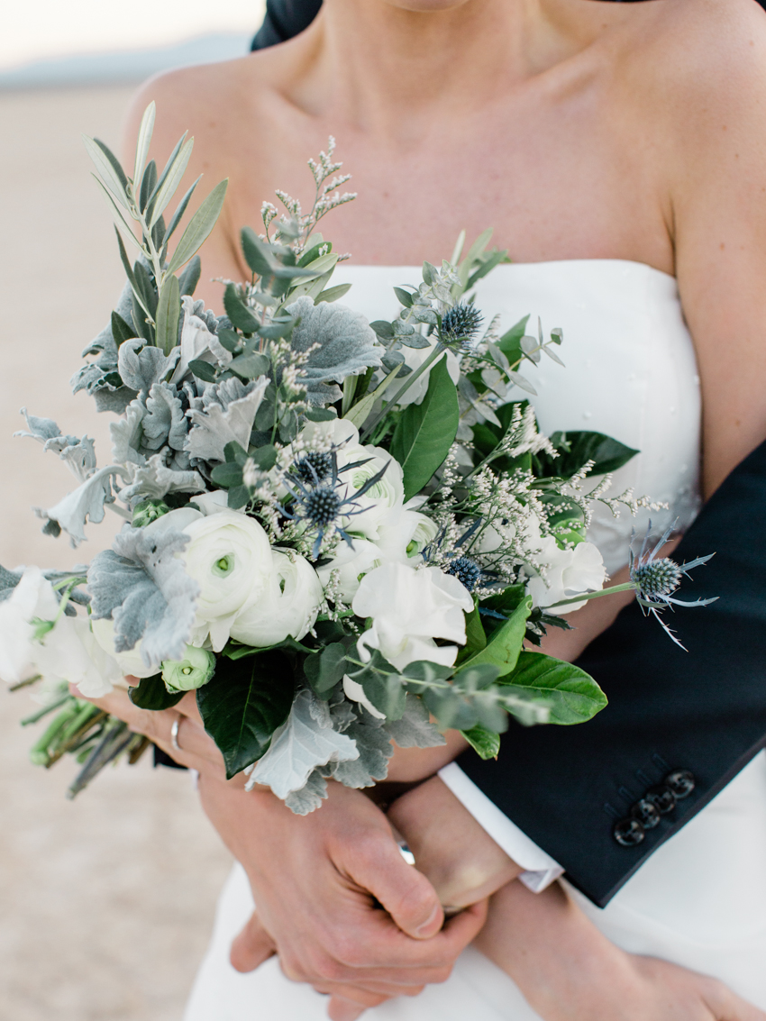 white green blue wedding bouquet