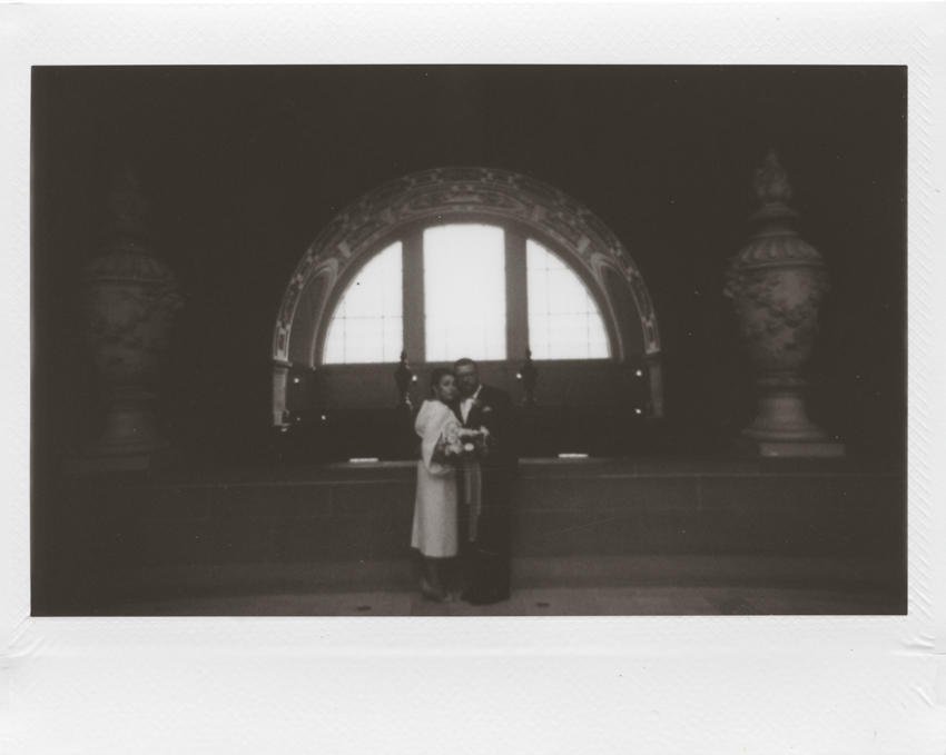 San Francisco city hall elopement instant film
