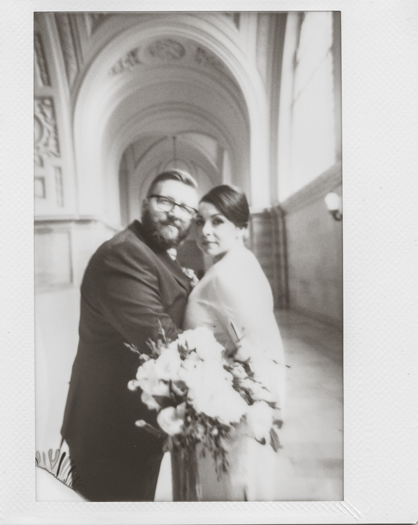 San Francisco city hall wedding polaroid