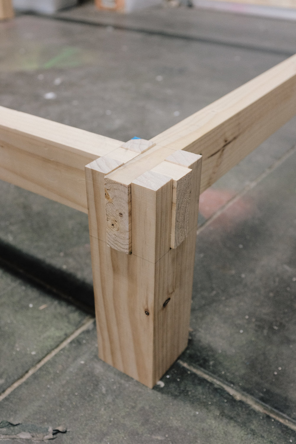 Bed leg castle joint detail PF