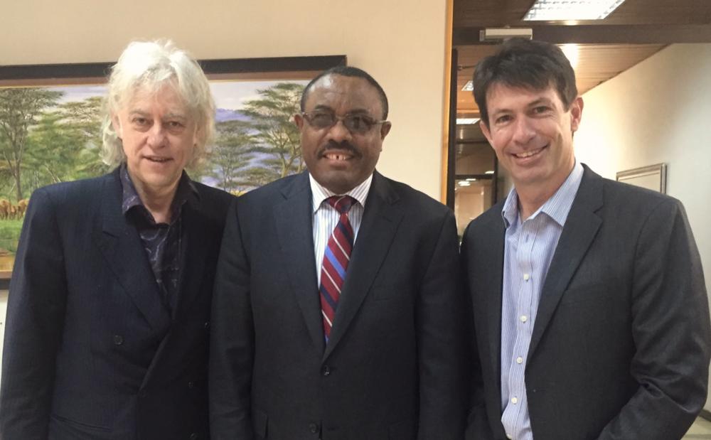 From left: Sir Bob Geldorf, HE Hailemariam Desalegne, Bruce Hamilton