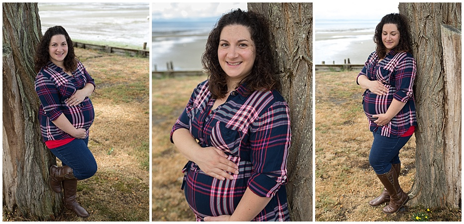 Seattle Maternity Photography Plaid and Tree