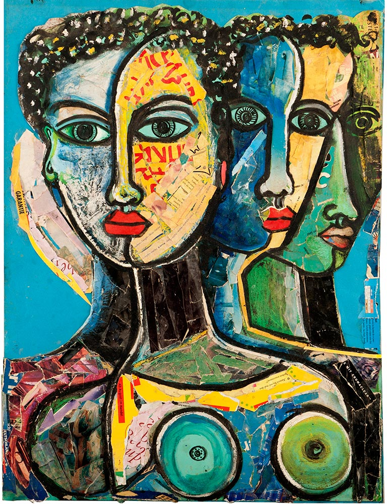 Geoffrey Mukasa,  The Three of Us,  c.2001, collage and oil on paper, 64cm x 49 cm