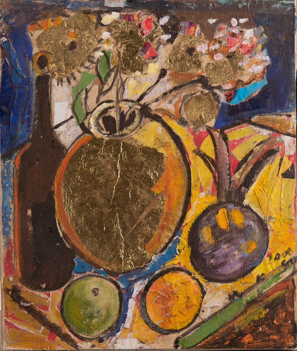 Geoffrey Mukasa (Ugandan, 1954-2009),  Still Life , 2000, collage, paint and gold leaf on paper, 30cm x 25cm