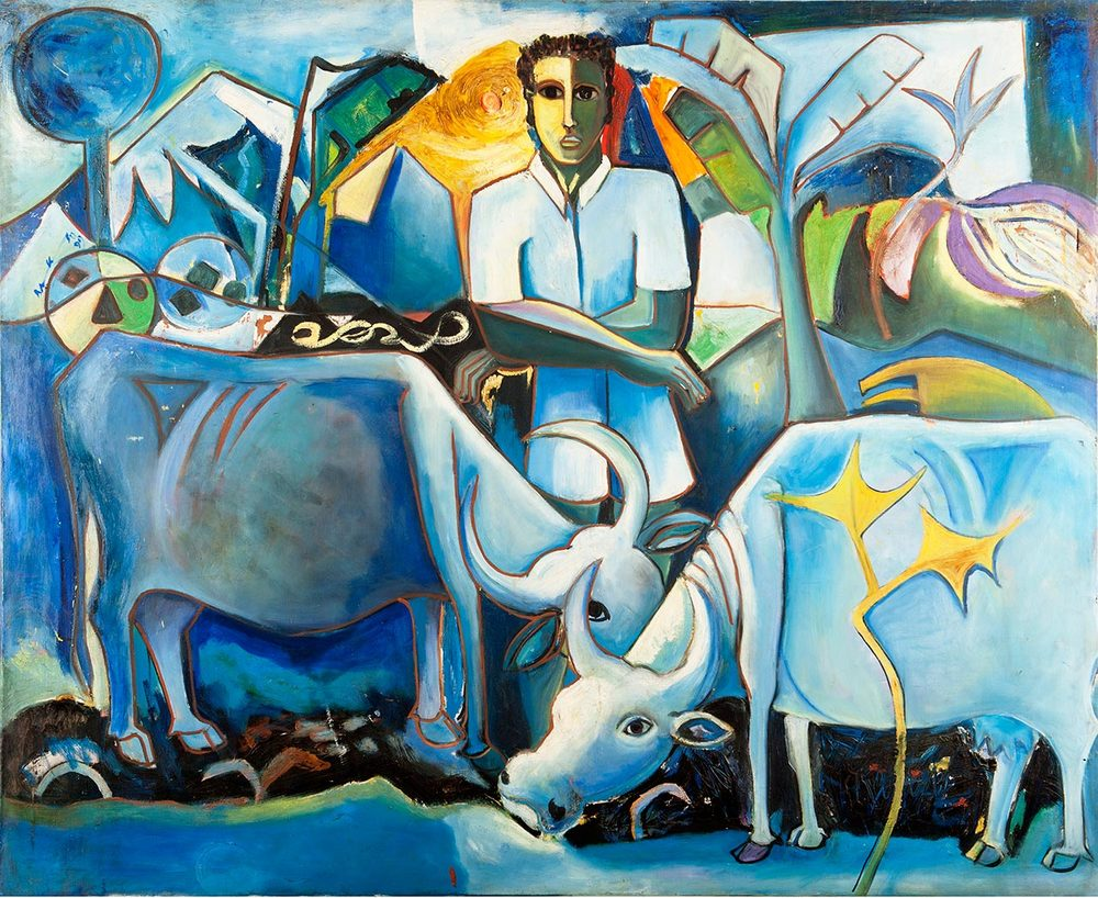 Geoffrey Mukasa (1954-2009),  At Home , 1991, oil on canvas, 126 x 154 cm