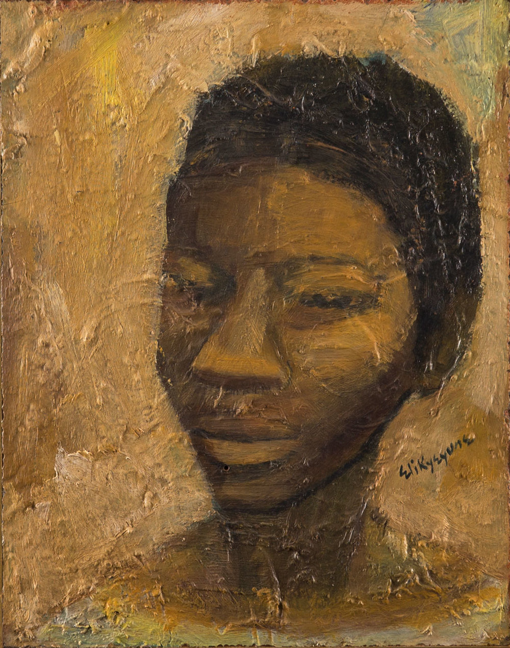Eli Kyeyune (b.1936),  Portrait , 1975, oil on hardboard, 36 x 28 cm
