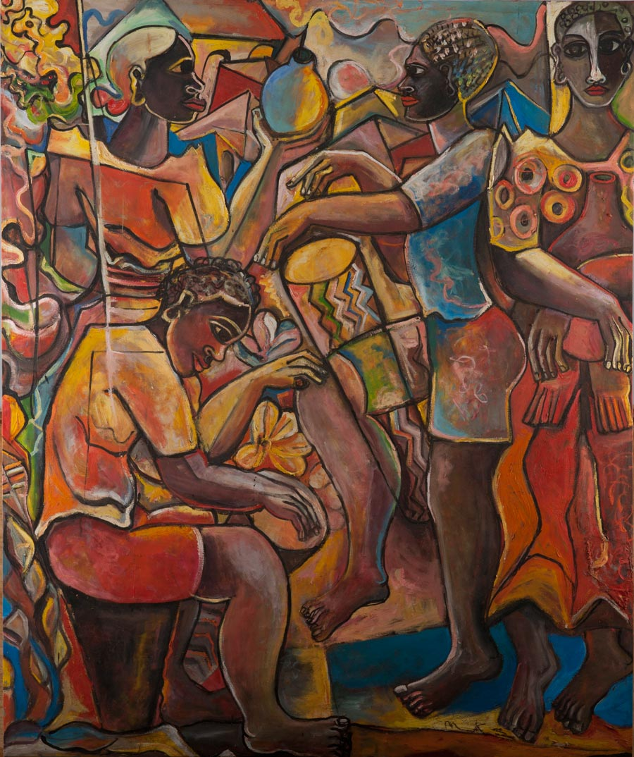 Geoffrey Mukasa (Ugandan, 1954–2009)  Celebrations , c.2006, oil on canvas, 180cm x 150cm