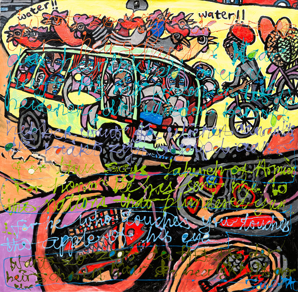 Eria 'Sane' Nsubuga (b.1979),  Joy Ride to the City (Zechariah 2:8),  2014, mixed media on canvas, 122 x 123cm
