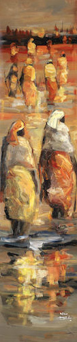 Edison Mugalu,  Walking to Work , 2010, oil on canvas, 151cm x 37.5cm