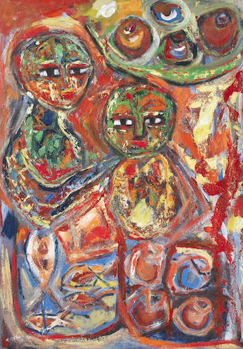 Tusiime Mathias,  Life of African Woman , 2011, oil on canvas, 95.5cm x 68.5cm