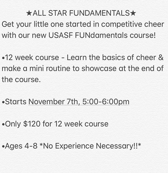 FUNdamentals starts THIS WEEK!! Come learn all about competitive cheer in our 12 week USASF FUNdamentals class!  Ages 4-8, no experience necessary!  Email Celebritycheerunlimited@gmail.com  OR DM us to register 💜💜
