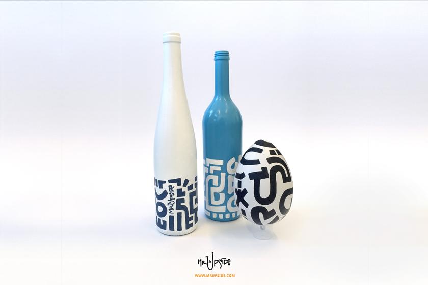 Mooie, unieke flessen door kunstenaar Mr. Upside (Michiel Nagtegaal) nu verkrijgbaar in zijn nieuwe webshop op: http://www.mrupside.com.