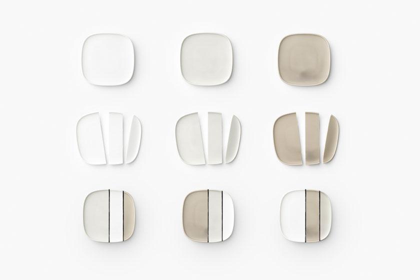 Drie verschillende kleuren borden doorgesneden en weer aan elkaar gelijmd. En dat levert mooie resultaten op.