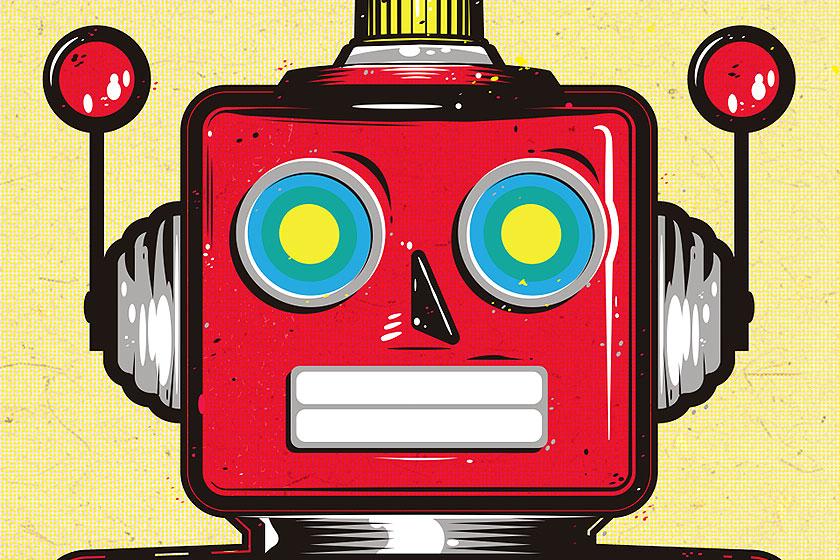 Happy Robot Illustratie door de Belgische Studio van Geem. Zoomed in op het hoofd van de robot.