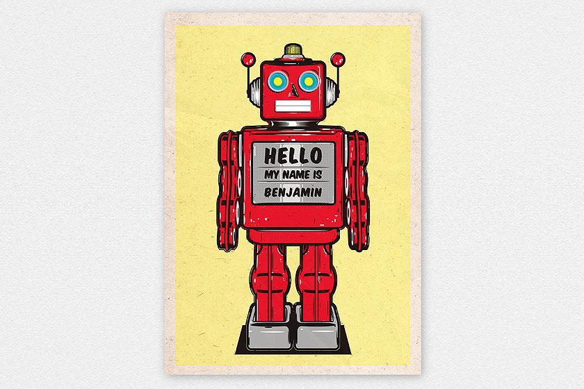 Happy Robot illustratie door Studio van Geem - met aanpasbare naam in het midden!