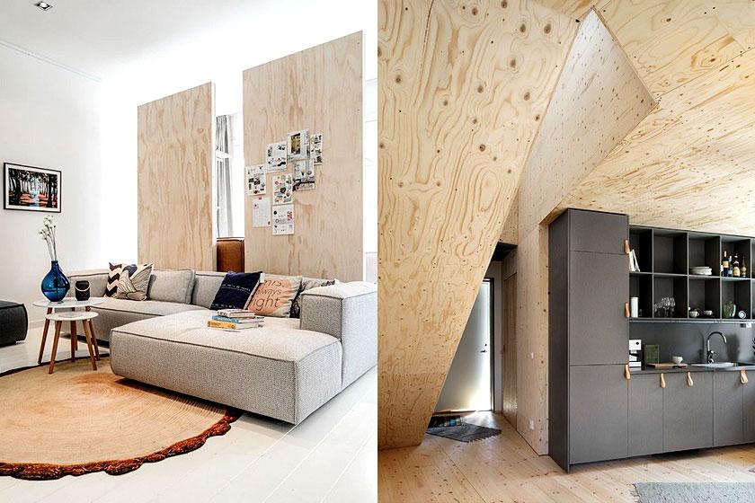 Foto links: mooi voorbeeld van multiplex als kamer verdeler. Foto rechts: bijzondere dakconstructies met multiplex.