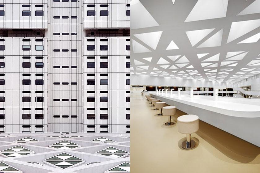 Kaan Architecten - Nieuw Onderwijs Centrum in het Rotterdams Erasmus MC -  Driehoekige dakramen en een grote overspanning.