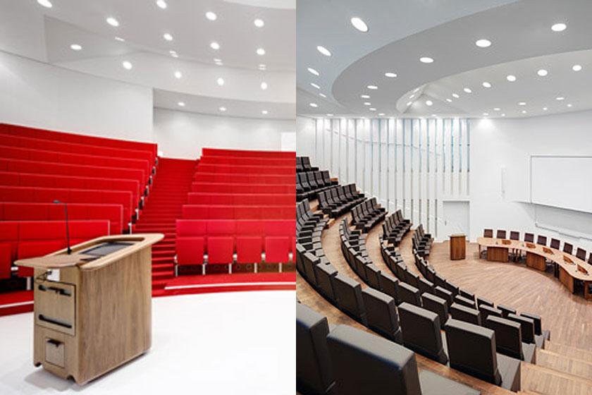 Kaan Architecten - Nieuw Onderwijs Centrum in het Rotterdams Erasmus MC -  Rood, wit, walnoot en bruin zijn de overheersende kleuren in het interieur.