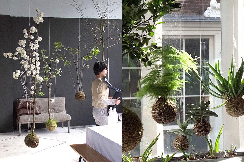 String Gardens door Fedor van der Valk  - Hangende planten in een haakwerk, lijkend op de Japanse botanische stijlKokedama.